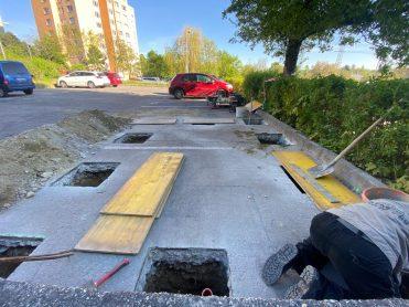 Príprava základov pre nové kontajnerové stojisko na ulici V. Valachovej